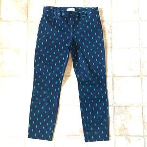 Blue with Green Shapes Slim Capris